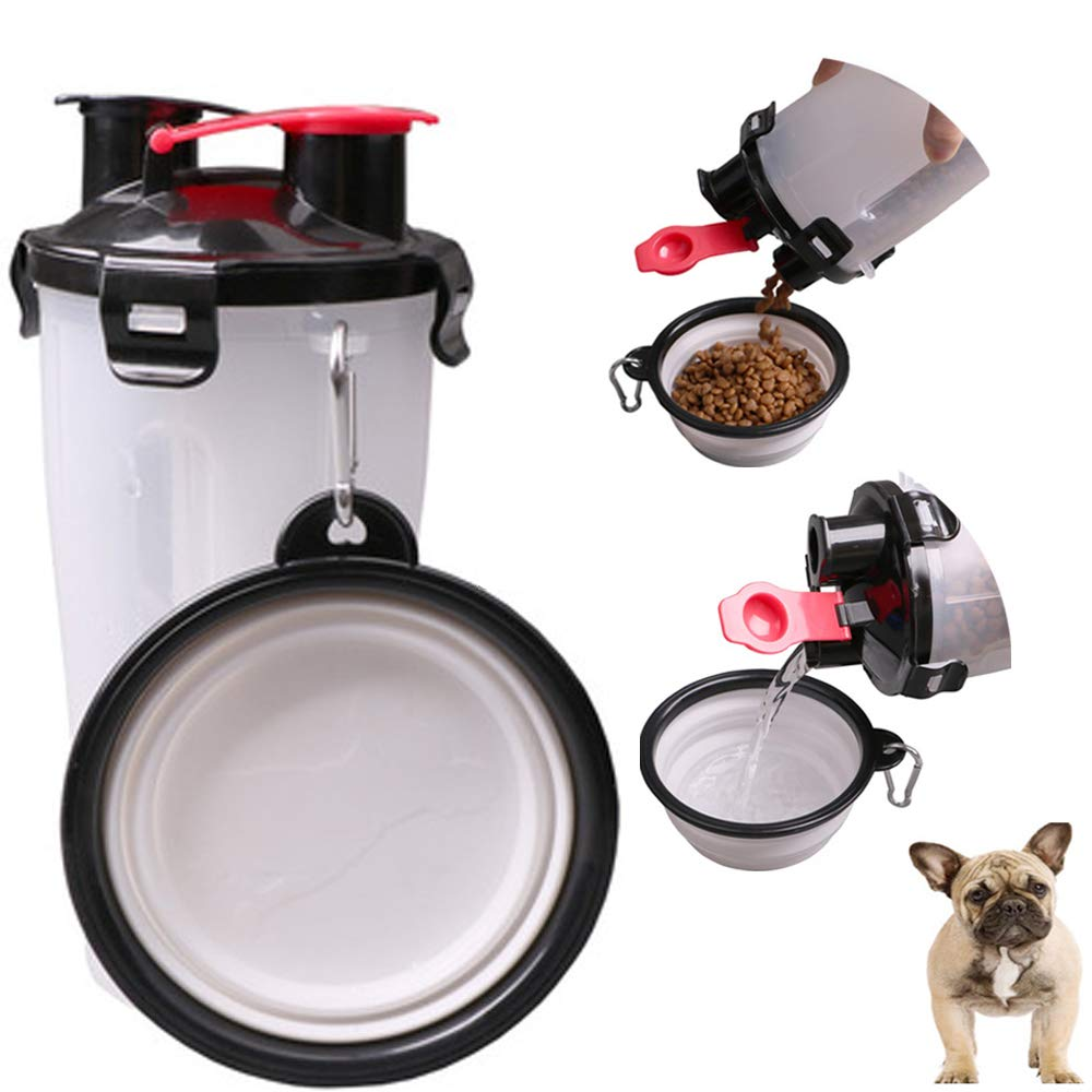 MineDecor Pet Water Bottle Portable Dog Travel Mug 2 in 1 Cat Food Water Dispenser Pets Drinking Collapsible Bowl for Walking Running Hiking Outdoor