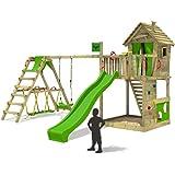 FATMOOSE Torre gioco HappyHome Hot XXL palafitta casa sull'albero scalatore con altalena, scivolo e la coltivazione di surf