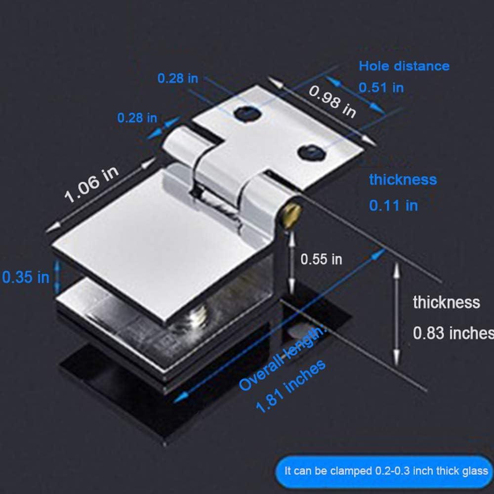 yyuezhi M/öbel Scharnier F/ür Glast/üren Clip Clamp Scharnier Hochwertiges Scharnier Aus Zinklegierung 0 Grad Einseitiges Clip-Glast/ürscharnier Einfache Installation Langlebig Glashalterung(5 St/ück)