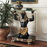 Ancient Egyptian King Tut Messenger Glass Console Hallway Foyer Table