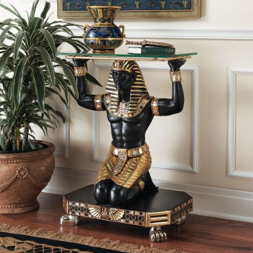 - Ancient Egyptian King Tut Messenger Glass Console Hallway Foyer Table