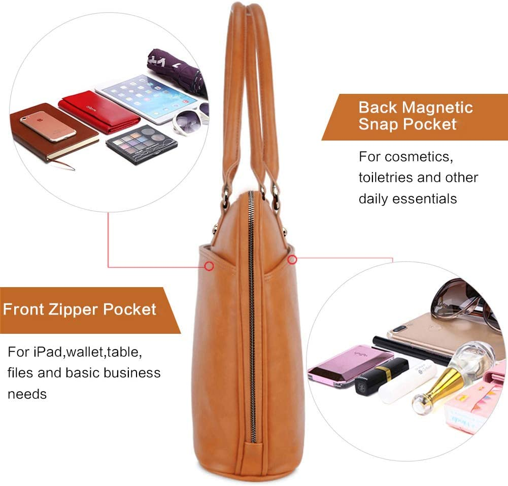 Laptop Tote Bag,15.6 Inch Tote Bag for Women Classic Laptop Case Shoulder Bag for Work L0009//Brown