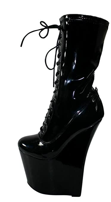 f1aa1523975 Erogance black latex extreme platforms high heels ankle boots 36-41 ...