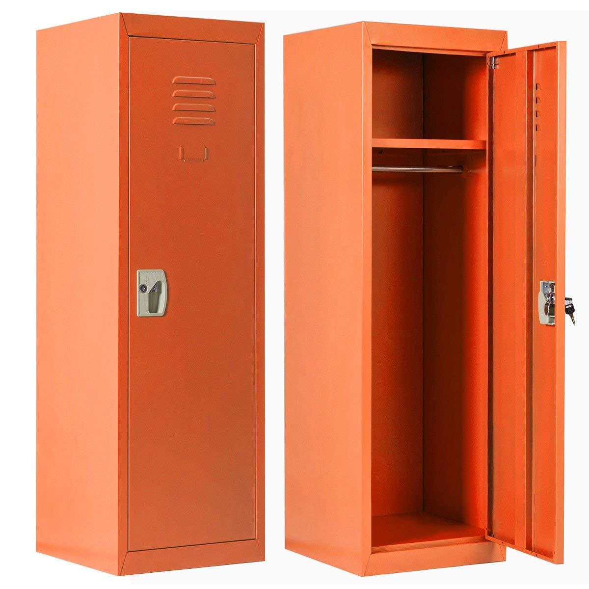 INVIE Kids Storage Metal Locker Single Tier Metal Locker for Home & School - with Key & Hanging Rods Orange …