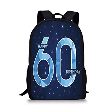 IPrint School Bags 60th Birthday DecorationsSpace Theme Stage With Star Like Abstract Details Art