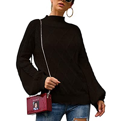 Womens Oversized Sweaters Cable Knit Mock Neck Lantern Long Sleeve Pullover Jumper at Women's Clothing store