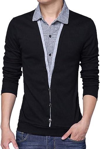Camiseta de Dos Mangas con Falda de Solapa para Hombre Camisa de Fondo Top Manga Larga Suéter para Hombre con Cuello Camisa de Punto Sudadera Algodón riou: Amazon.es: Ropa y accesorios