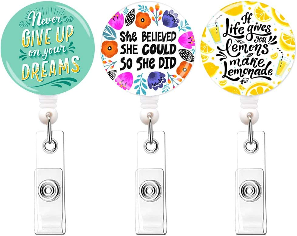 Qinsuee 3 Pack Lightweight Retractable Badge Reel Holder, Easy Retracting, Lemon ID Badge Holder with Belt Clip, Perfect Gifts for Women Nurse