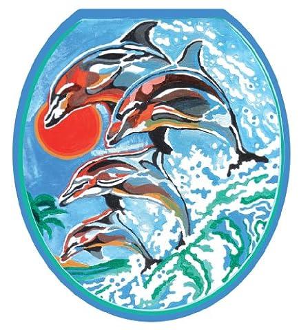 Toilet Tattoos TT-1032-R Dolphins Synchronized Swim Design Toilet Seat Applique, Round - 1032 Red Kitchen