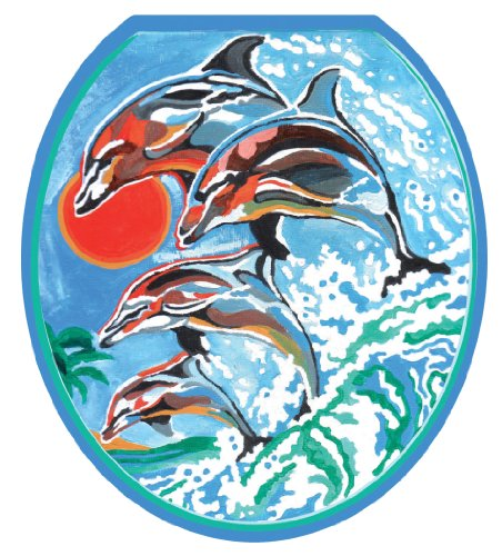 1032 Red Kitchen (Toilet Tattoos TT-1032-R Dolphins Synchronized Swim Design Toilet Seat Applique, Round)