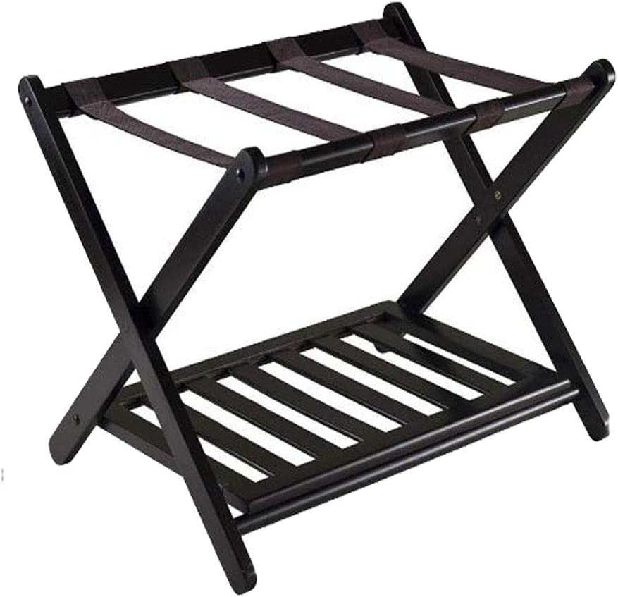 Luggage Rack, Folding Luggage Rack for Guest Room, Bedroom, Hotel (Black),with Shoe Shelf(Updated)