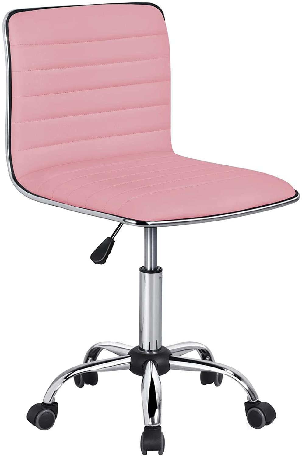 YAHEETECH Pink Low Back PU Leather Ribbed Armless Office Chair, Ergonomic Swivel Task Chair with Wheels for Women