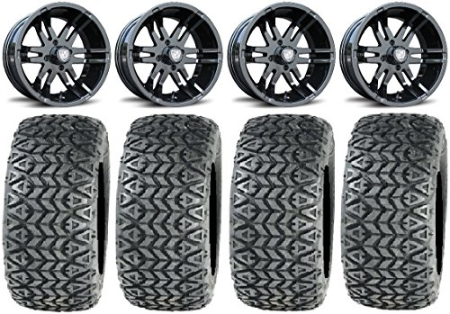 "Bundle - 9 Items: Fairway Alloys Flex Bk Golf Wheels 14"" 23x10-14 All Trail Tires [for E-Z-GO & Club CarGolf Carts]"