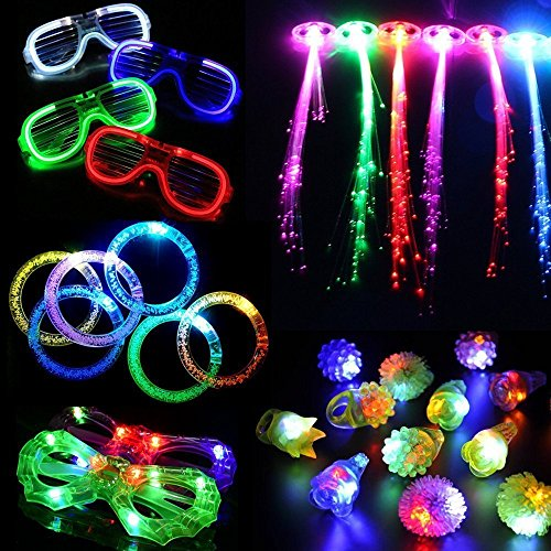 30 Pieces LED Light Up Party Favor Toy Set--LED Party Pack With LED Accessories - 12 LED Flashing Bumpy Rings,6 LED Bubble Bracelets,6 LED Glasses And 6 LED Fiber Optic Hair Extensions