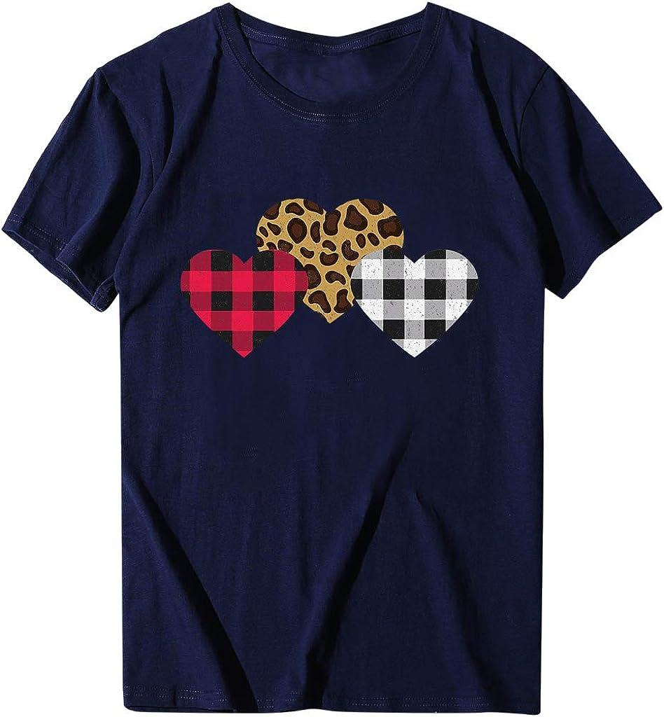 Sylar Camiseta Corazón para Mujer Camisetas Mujer Manga Corta Casual Camisetas Cuello Redondo T-Shirt Camiseta Basicas tee Verano Tops Blusa