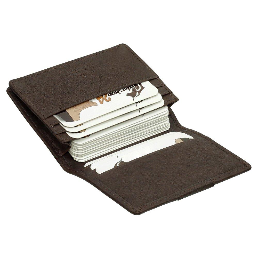 Luxus Leder Kartenetui Kreditkartenetui XXL Etui über 21 Kartenfächer 7,5 cm vers. Farben schwarz, braun, Cognac 5 cm Farbe braun Ledershop24