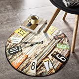 Door mat,Gate pad,Rug,[creative],Clock,[study],Circular carpet,Living room,Tea table,Mat bedroom hanging,Computer chairs,Room bed mat-D diameter200cm(79inch)