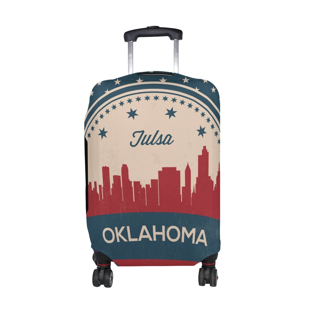 Vintage American Flag Oklahoma State Tulsa Skyline Luggage Cover Travel Suitcase Protector Fits 29-32 Inch Luggage