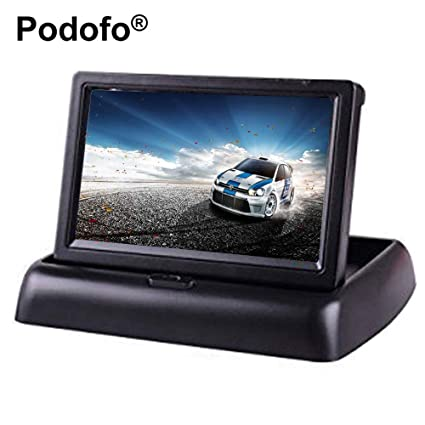 PODOFO 10 9cm Foldable TFT Color LCD Car Monitor Car Rear View Parking  Dashboard Display for Car Rear View Camera, CCTV Camera and Car DVD Player