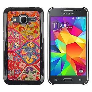 Paccase / SLIM PC / Aliminium Casa Carcasa Funda Case Cover para - Floral Pattern Art Ogee Red Colorful - Samsung Galaxy Core Prime SM-G360