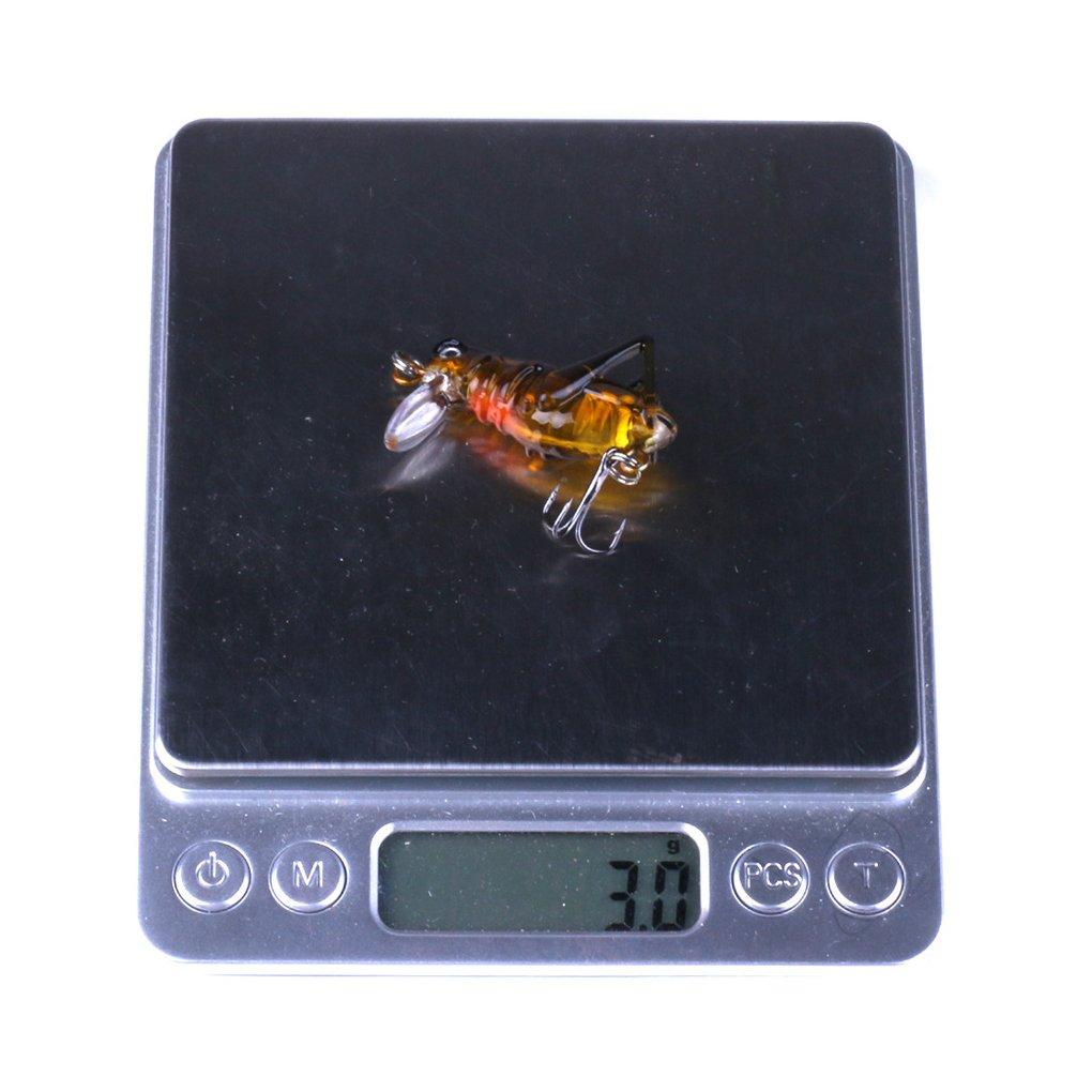 Morza 5pcs Simulaci/ón Saltamontes Cebo de Pesca Bionic Luminoso se/ñuelo de Ganchos Artificial del grillo de Insectos Cebo del Anzuelo