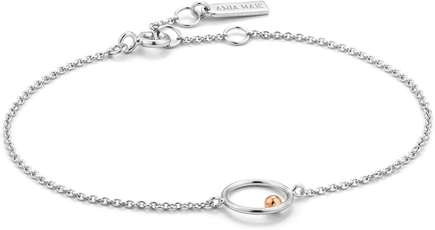 Two Tone Silver /& Rose Gold 925 Sterling Silver Layering Boho Circle Chain Dainty Bangle Bracelet