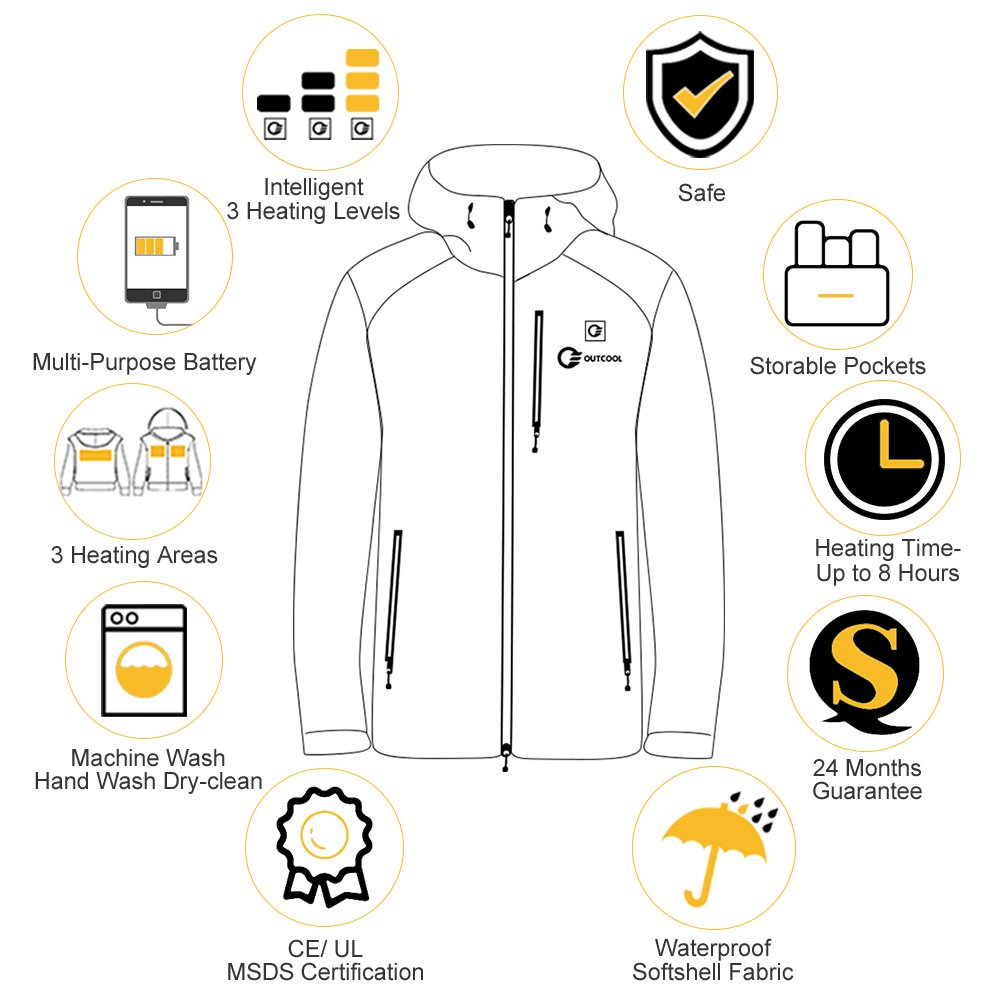 Outcool Womens Heated Jacket Kit With Hood Waterproof Windproof Wiring Black M Clothing Accessories