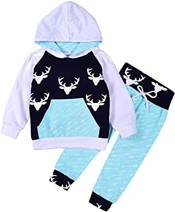 Pants 2PCS Outfits Set Baby Boys Clothes Long Sleeve Dinosaur Print HoodieTops