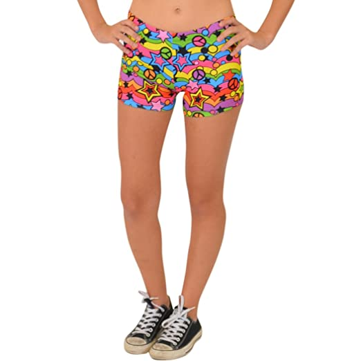 dc5ee006c23 Stretch is Comfort Women s Heart Peace Star Dots Print Booty Shorts Small