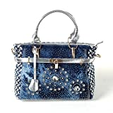New Arrival Diamond Embroidered Denim Top Handle Bag Tote, Silver