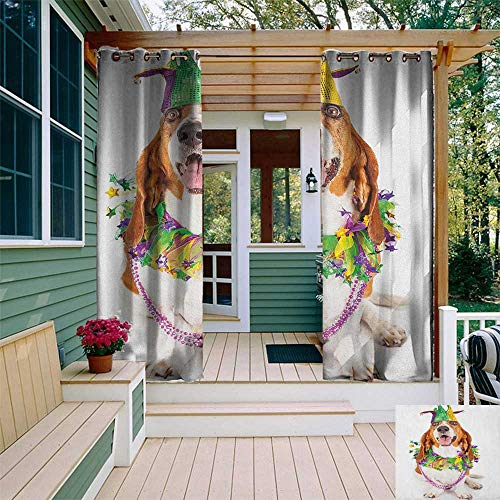 - leinuoyi Mardi Gras, Outdoor Curtain Pair, Happy Smiling Basset Hound Dog Wearing a Jester Hat Neck Garland Bead Necklace, Fabric W84 x L108 Inch Multicolor