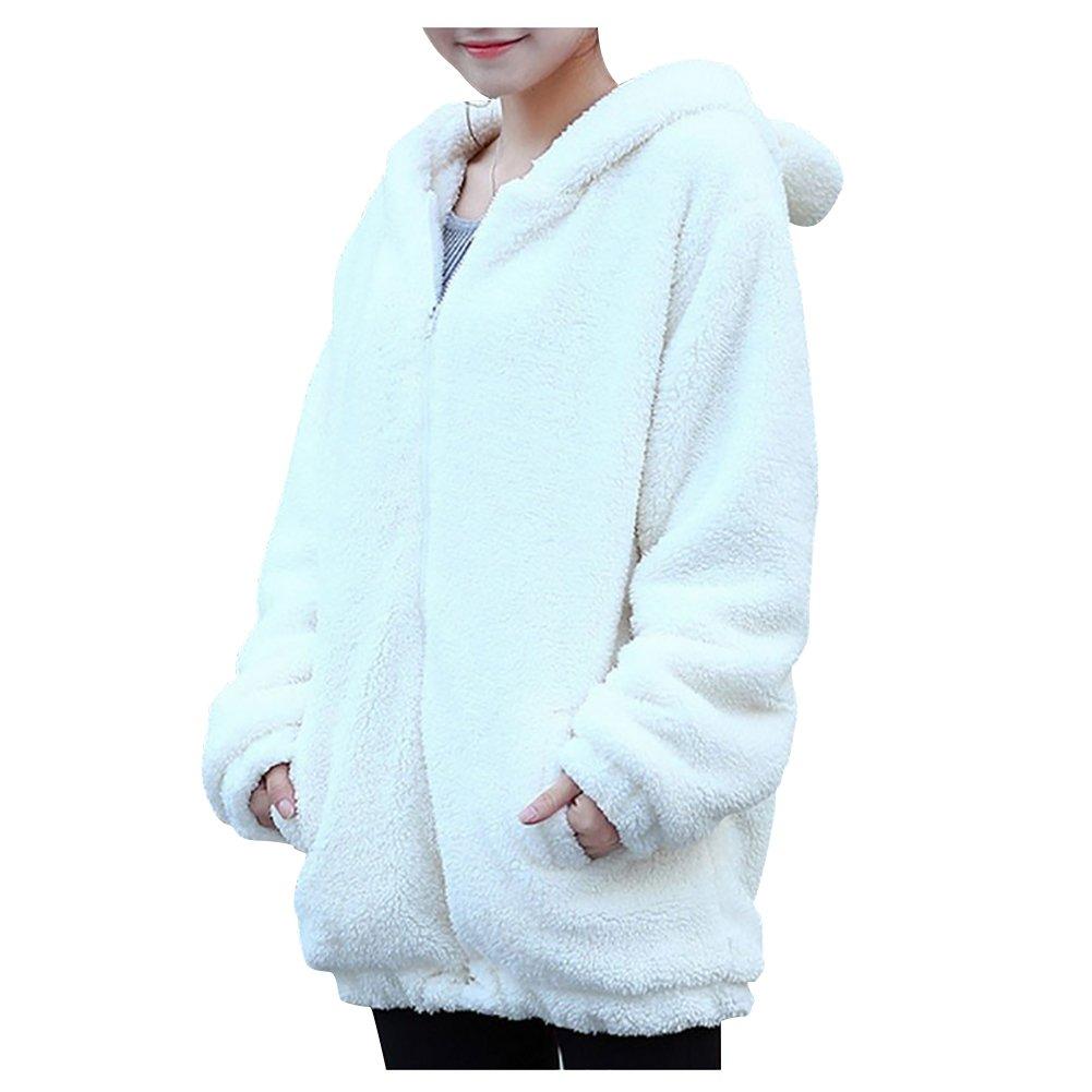 ELINKMALL Women Warm Cute Cartoon Bear Ear Hoodie Baggy Outerwear Jacket Coat