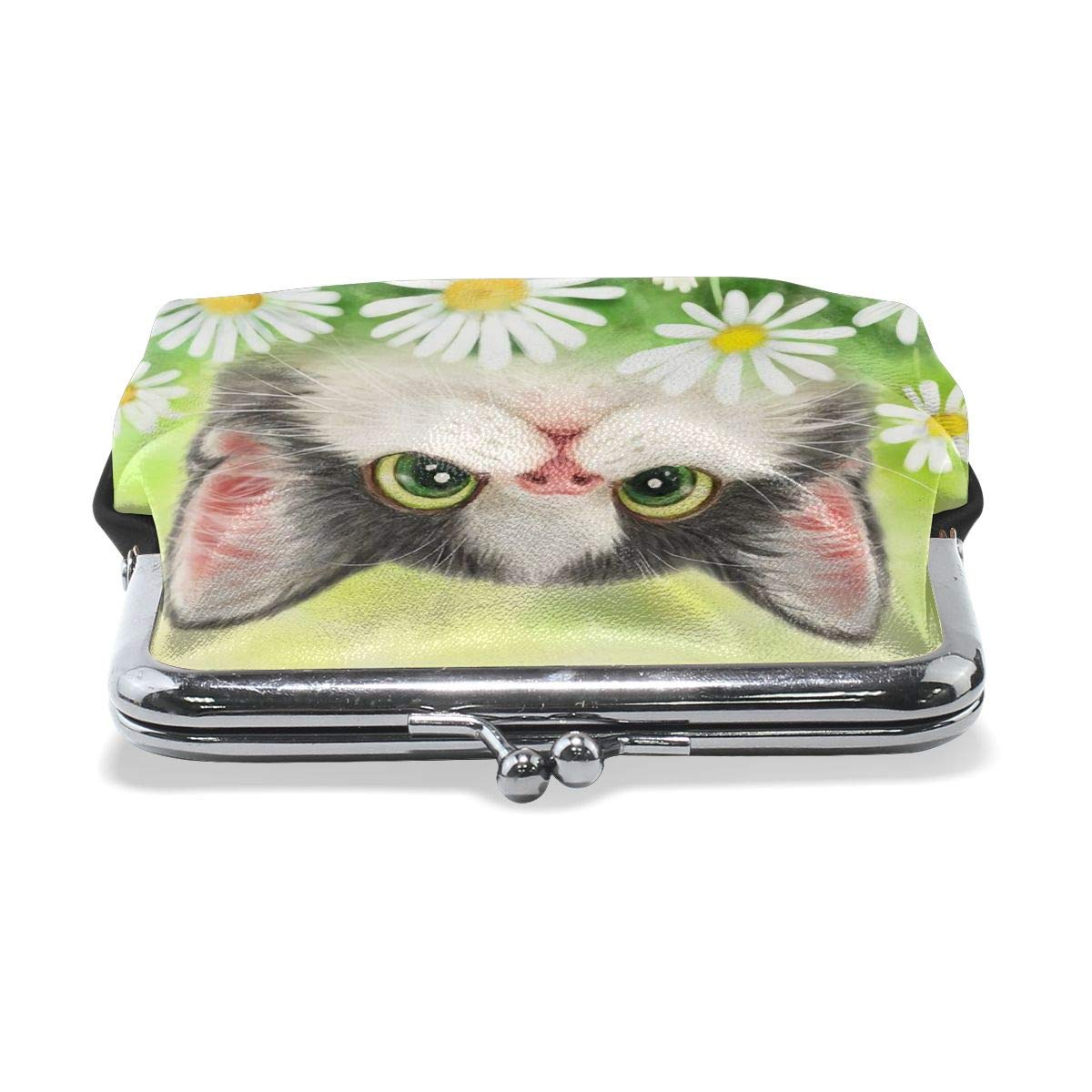 Lovely Cat Baby White Daisy Cluster Pets Vintage Pouch Girl Kiss-lock Change Purse Wallets Buckle Leather Coin Purses Key Woman Printed