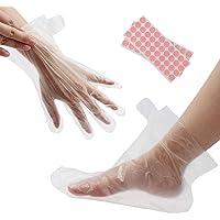 200 piezas de guantes transparentes y botines, protectores de plástico desechables, revestimientos de plástico para cera de parafina, salón de spa caliente, teñido del cabello, manoplas desechables protectoras para la cocina, servicio de comidas