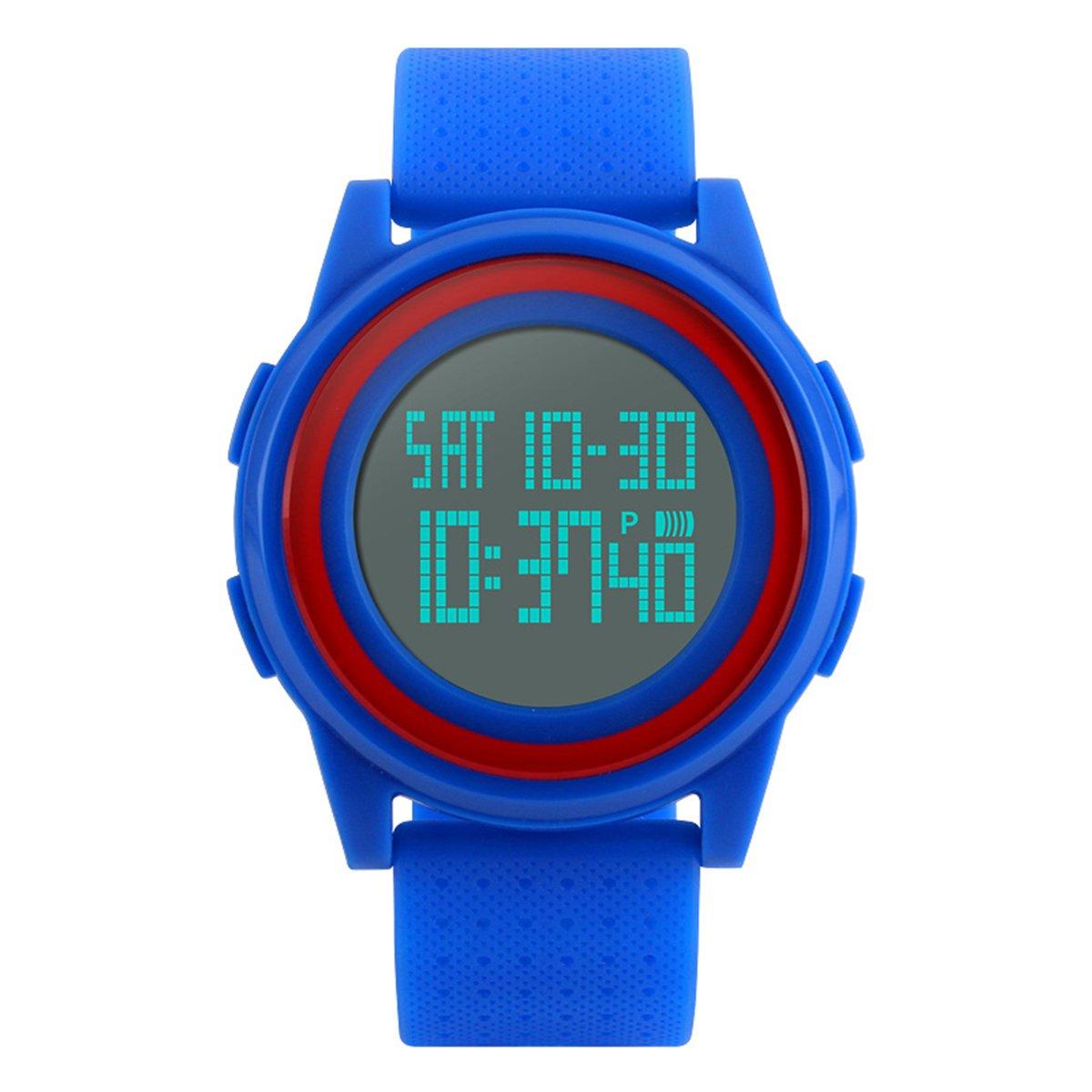 Kids Digital Sport Watch LED Military Waterproof Luminous Stopwatch Alarm Simple Wristwatch (blue) by BesWlz