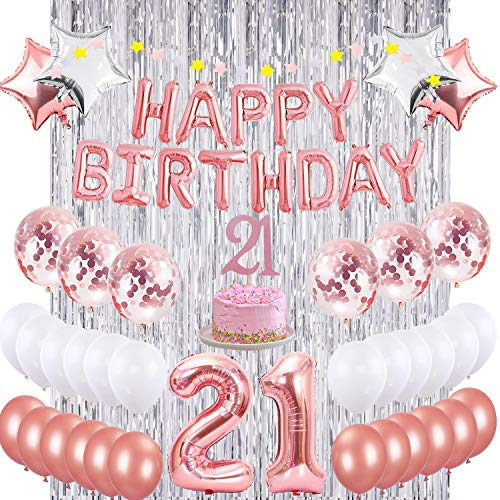 Rose Gold Party Decorations Deluxe 21st Birthday SET with Impressive 4.5