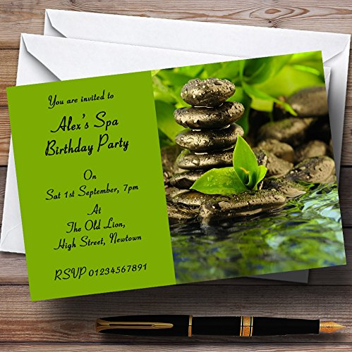 Green Spa Day Theme Personalized Birthday Party Invitations