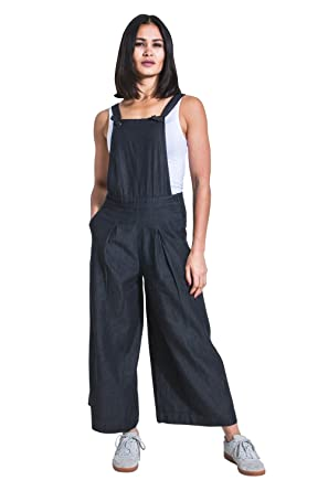 a989cfc6a8 Wash Clothing Company Ladies Culotte Dungarees - Black Wide Leg Bib Overalls  BLUEBELLBLK  Amazon.co.uk  Clothing