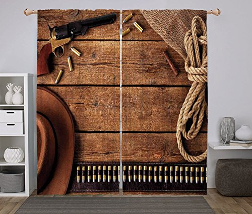 iPrint 2 Panel Set Window Drapes Kitchen Curtains,Western Cowboy Gun Belt and Vintage Rope Hat and Cigar on Rustic Wooden Planks Picture Tan and Brown,for Bedroom Living Room Dorm Kitchen Cafe