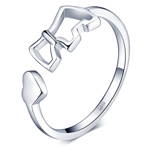 Infinite U Corazón Perro/Perrito Plata Esterlina 925 Mujer Anillos Ajustables para Boda/Matrimonio
