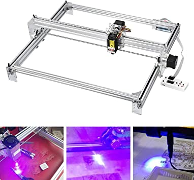 HUKOER 40X50 CM Kits de grabador l/áser CNC de bricolaje M/áquina de grabado l/áser de escritorio con USB de 12 V impresora l/áser de potencia ajustable Talla y corte Carcasas de pl/ástico 500 MW
