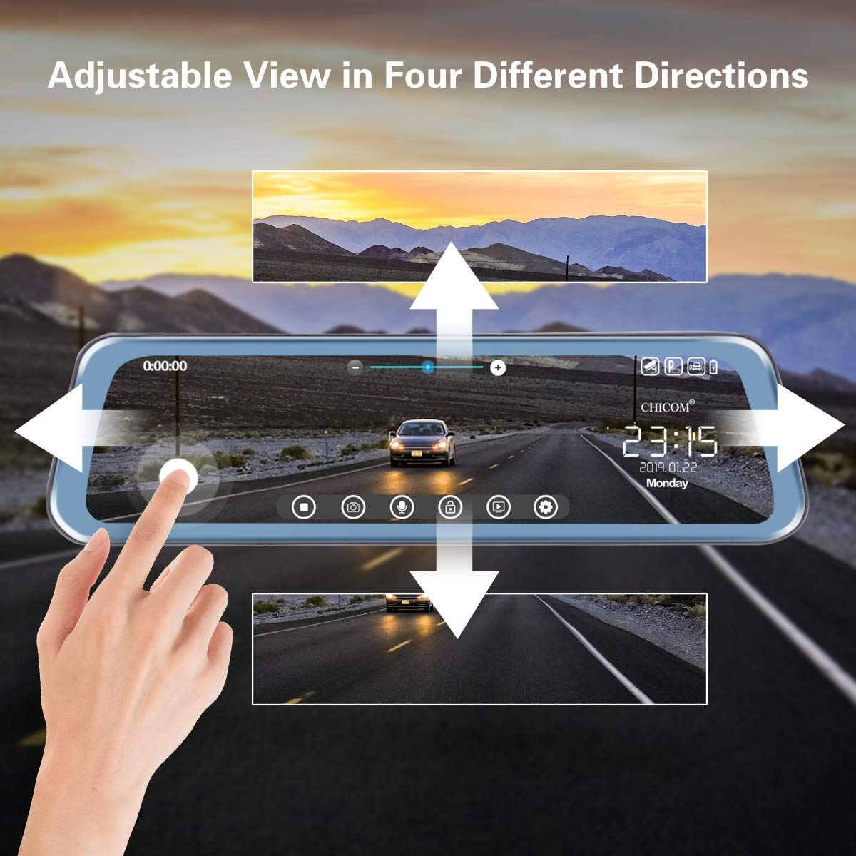 Mirror Dash Cam 9.66'' Dual Lens Full Touch Screen Stream Media Rear View Mirror Camera Made of Aluminum Alloy, 1080P 170°Front and 1080P 140°Backup Camera with Parking Monitor and G-Sensor by CHICOM (Image #2)