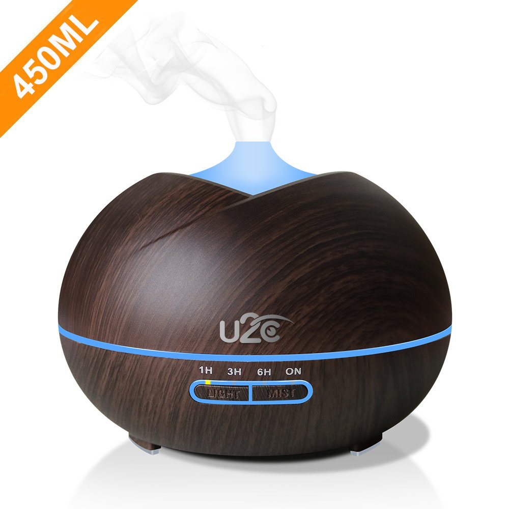 U2C Essential Oil Diffuser, 【450ml Aroma Diffuser Wood Grain】 Ultrasonic Aroma Diffuser Cool Mist Humidifier with Low Water Auto Shut-Off, 7 Color LED for Office Home Bedroom Study