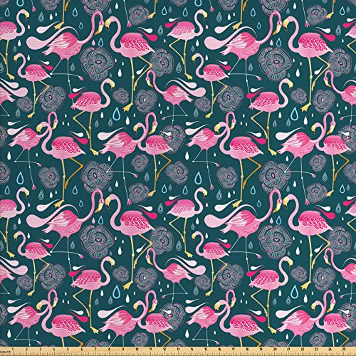 Ambesonne Flamingos Fabric by The Yard, Exotic Bird Pattern with Flowers Hearts and Raindrops Tropical, Decorative Fabric for Upholstery and Home Accents, Pink Dark Green Pale ()