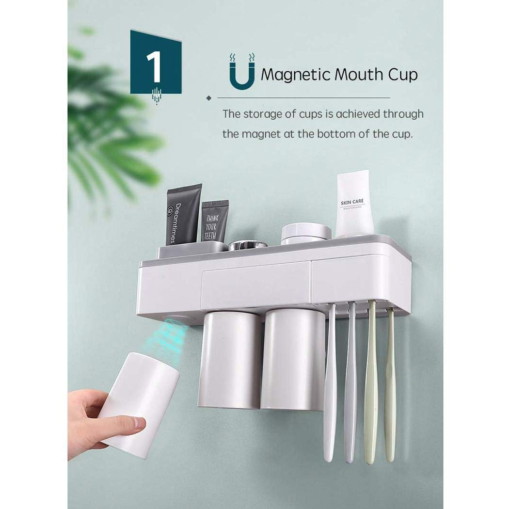 Bealye Fashion Magnetic Toothbrush Holder Wall Mount Toothbrushes Slots Organizer Cup