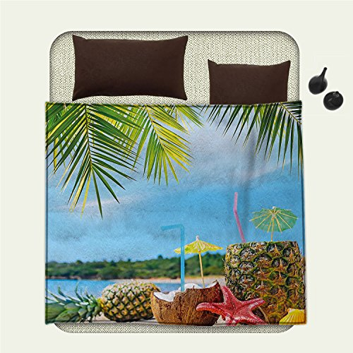 smallbeefly Tropical Flannel blanket Fresh Summer Fruits Coconut and Pineapple Drinks at Exotic Beach Palm Treesblanket queen size Blue Green - Beach Palm Sectional