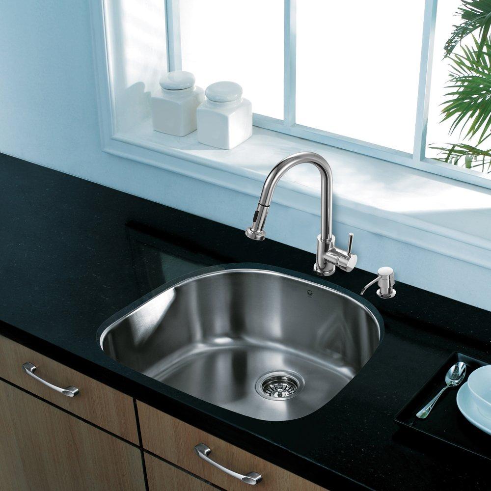 VIGO 24 inch Undermount Single Bowl 18 Gauge Stainless Steel Kitchen ...