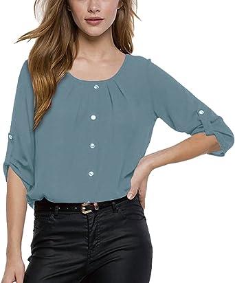 ISSHE Blusa Gasa Cordón Blusas Manga Larga para Dama Camisas de Mujer Blusones Camisetas Largas Juveniles Top Cuello Redondo Tops Camisa Elegantes Anchas Verano Color Solido: Amazon.es: Ropa y accesorios