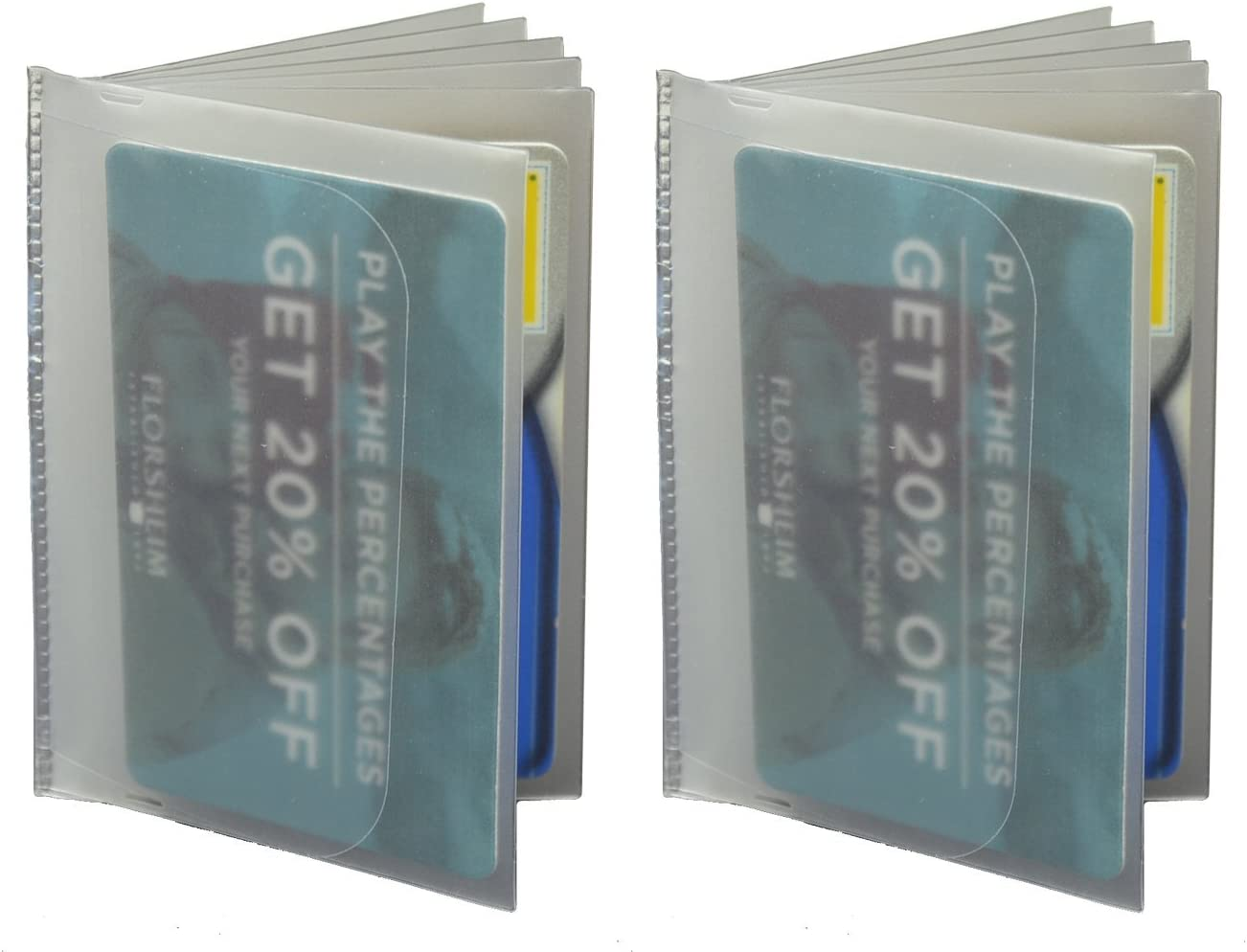 Set of 2 PLASTIC 6 PAGE WALLET INSERT for BIFOLD CARD CASE