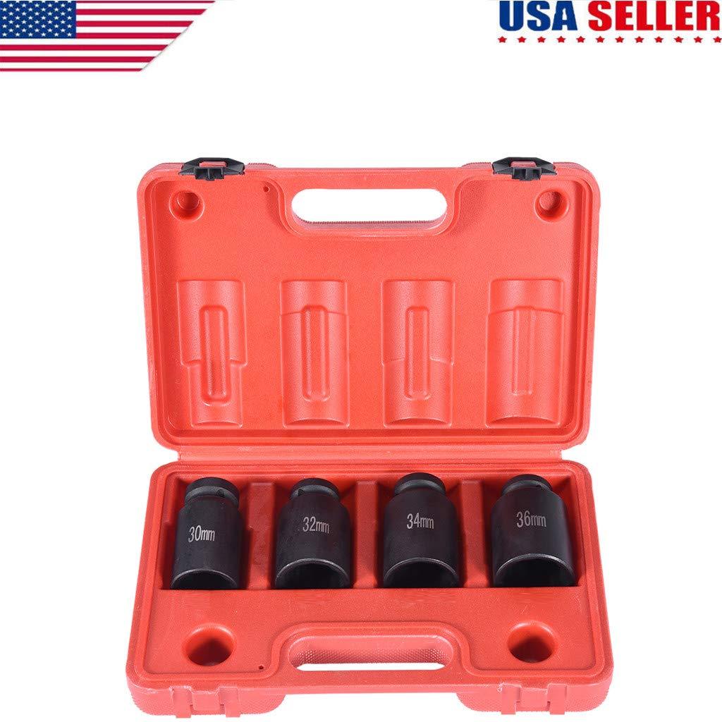Pjjfmcbom Drive Deep Spindle Axle Nut Impact Socket Set, 4Pc 1/2-Inch  12Point Metric 30mm 32mm 34mm 36mm CR-MO Dr  Deep Impact Socket Set  Install,